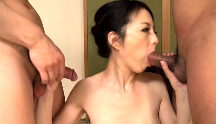 Busty Japanese Wife - Busty Japanese Wife Has Two Horny Guys Drilling Her Holes ...