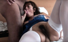 stacked-oriental-lady-rubs-her-hairy-cunt-and-sucks-a-dick