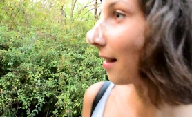 beautiful-young-brunette-gets-facialized-in-a-public-park