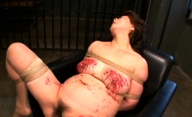 Buxom Japanese Lady Gets Tied Up And Fucked In Every Hole
