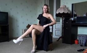 Seductive Blonde Milf Puts Her Magnificent Legs On Display